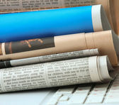Newspapers on a laptop — Foto Stock
