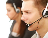 People working in a call center — Stock Photo