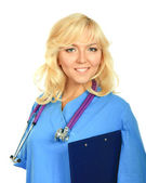 Female doctor with a folder — Stock Photo