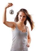Girl with disco ball — Stock Photo