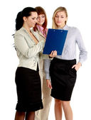 Young women standing with folder, — Stock Photo