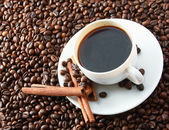 Coffee beans with white cup — Stock Photo