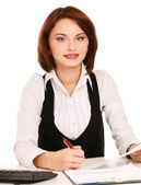 Woman working with documents — Stock Photo
