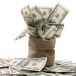 Sack with hundred dollar bills — Stock Photo