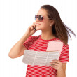 Young lady talking on mobile phone — Stock Photo
