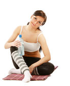 Woman drinking water after sport — Stock Photo