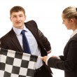 Businesspeople and finish flag — Stock Photo #43002997