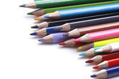 Colored pencils in a line — Stock Photo