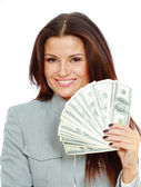 Woman with dollars in her hands — Stockfoto