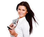 Empresaria mediante teléfono móvil — Foto de Stock