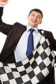 Businessman finishing in time — Stock Photo