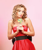Woman with  lollipop — Stock Photo