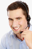 Customer support operator with a headset — Stock Photo