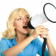 Portrait of young girl shouting with megaphone — Stock Photo