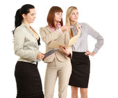 Young women standing with folder — Stock Photo