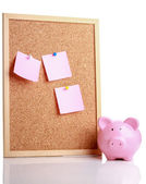 Pink piggy bank with a board. — Foto Stock