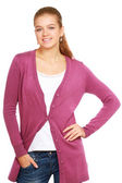Young woman standing with folded arms — Stock Photo