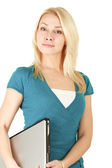 Young woman standing  with laptope — Stock Photo