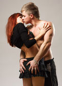 Couple heterosexual topless with jeans — Stock Photo