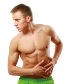 Young man with belly-aches — Stock Photo