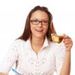 Businesswoman thinking with a cup of tea — Stock Photo #43177565