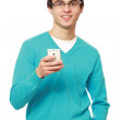 Young guy with a mobile phone — Stok fotoğraf #43178827