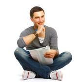 大学的家伙坐在地板上和研究 — 图库照片