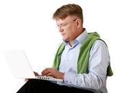 Elderly senior man with laptop — Stock Photo