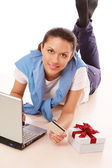 Woman  with a laptop and credit card — Foto de Stock