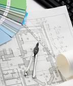 Architecture blueprint & tools — Stock Photo