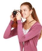 Mujer joven con cámara — Foto de Stock