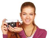 Jonge vrouw met camera — Stockfoto