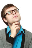 Man wearing glasses , looking up — Stock Photo