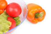 Tomatos, lettuce and papper — Stock Photo