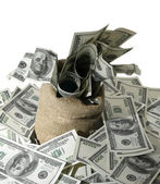 Canvas money sack with one hundred dollar bills — Stockfoto