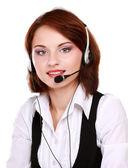 Vrouw met hoofdtelefoon. — Stockfoto