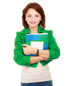 Woman with books standing — Stock Photo