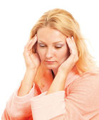 Young woman with head pain — Stock Photo