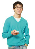 A young guy with a mobile phone — Stockfoto