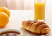 Croissants, Coffee, Orange Juice — Stock Photo
