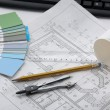 Plan,pencil,palette and compasses — Stock Photo #45344703