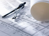 Architecture blueprint & tools — Stock Photo