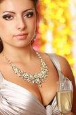 Kobieta pije szampana — Zdjęcie stockowe
