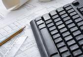 Pencil, dividers, blueprint and keyboard — Stockfoto