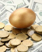 Gold egg lying on dollars and coins. — Stock Photo