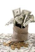Canvas money sack — Stock Photo