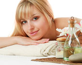 Blonde woman at spa procedure — Stock Photo