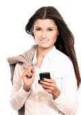 使用移动电话的女商人 — 图库照片
