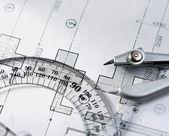 Arkitekturen blueprint & verktyg. — Stockfoto