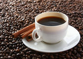 Coffee beans with  cup — Stock Photo